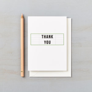 LSID greetings card cinema green thank you card