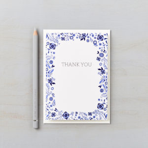 LSID greetings card danish floral blue