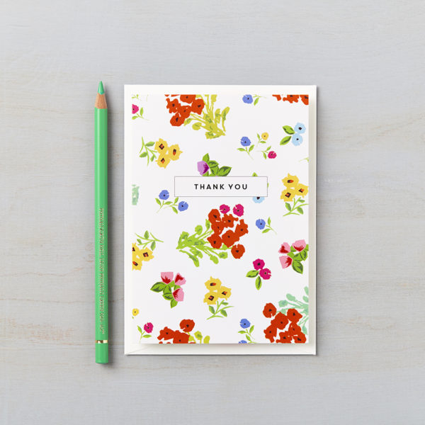 LSID greetings card ditsy red floral thank you card