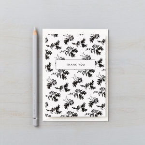LSID greetings card flower shadows black and white monochrome thank you card