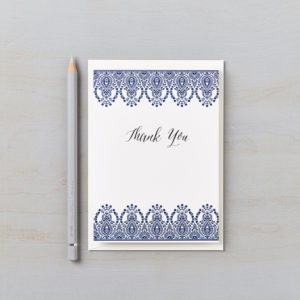 LSID greetings card indian summer indigo blue thank you card