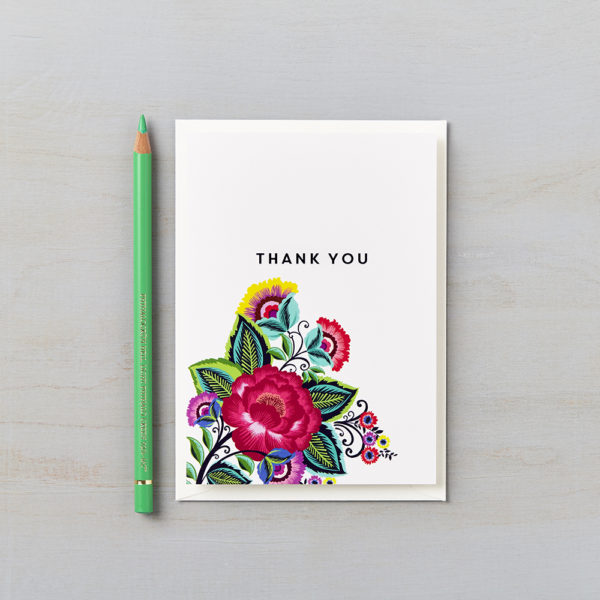 LSID greetings card mexican floral folk thank you multi