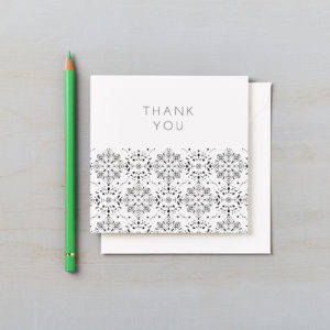LSID greetings card monochrome laser cut thank you card
