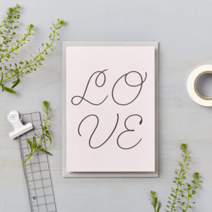 LSID greetings card pink cursive love card