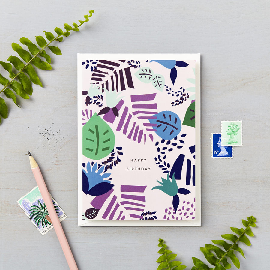 Tropical Abstract Happy Birthday Card Blue – Blue Birthday Cards