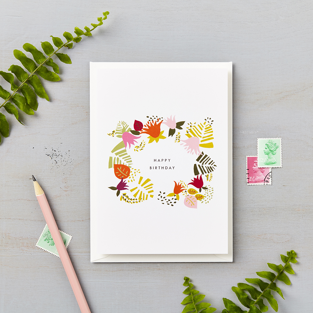 Tropical Abstract Happy Birthday Card Orange