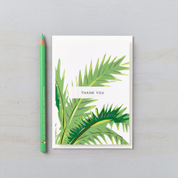 LSID greetings card tropical green palm thank you