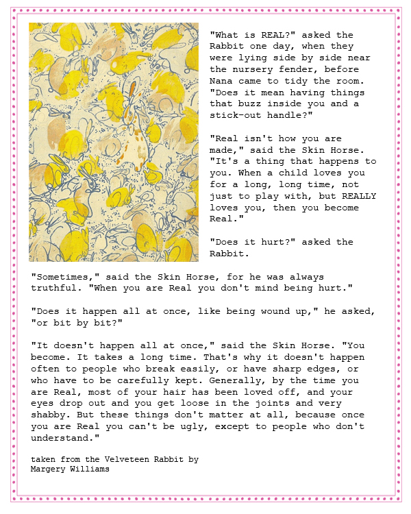 wedding vows and readings Margery Williams velveteen rabbit