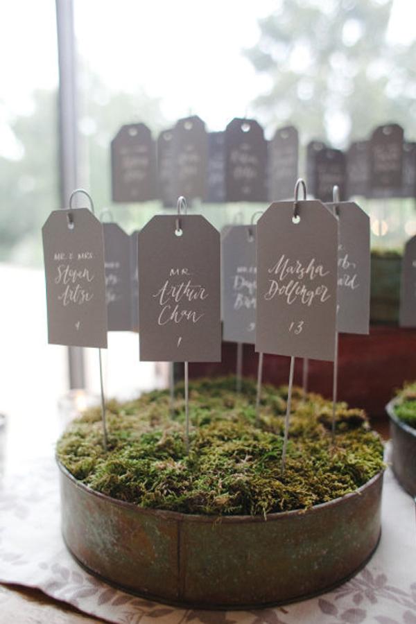 moss planting vintage tin wedding seating plan