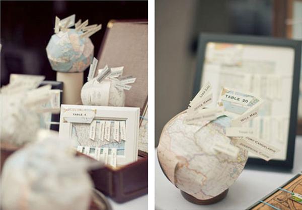 original globe map wedding seating plan