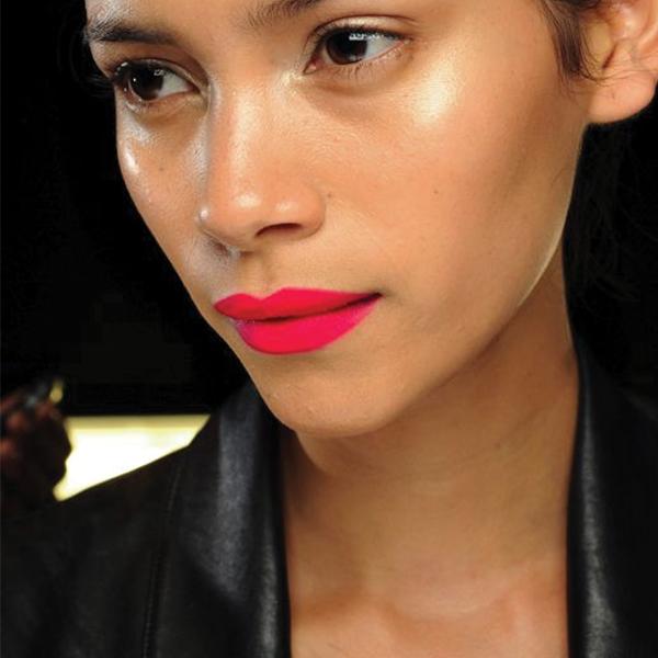 dark hair bright pink lips_feat