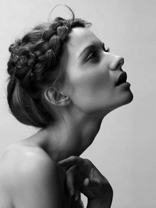 brunette braid plait wedding hair idea