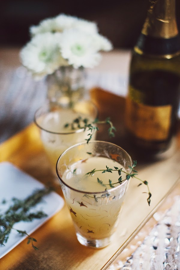 pear nectar and thyme mimosa christmas cocktail ideas