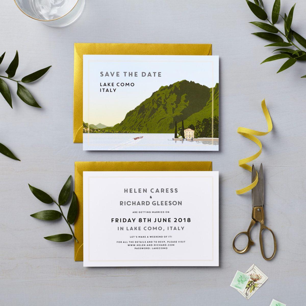 italy wedding lake como wedding invitation save the date vintage travel postcard design Villa Aura del Lago