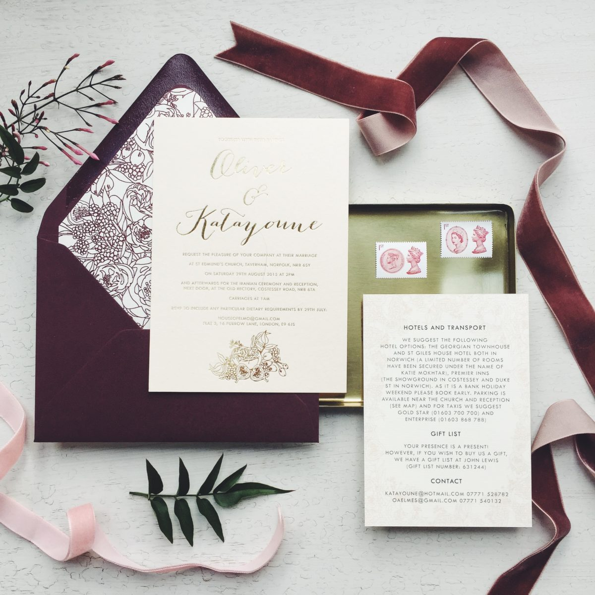 English garden wedding with persian twist bespoke floral gold foil on pink stationery invitation