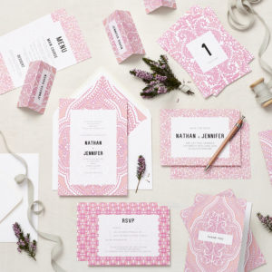 Lucy says I do mandala pink wedding stationery