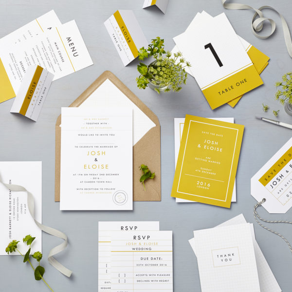Lucy says I do floral retro school mustard wedding stationery