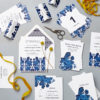 Lucy says I do floral folk blue wedding stationery
