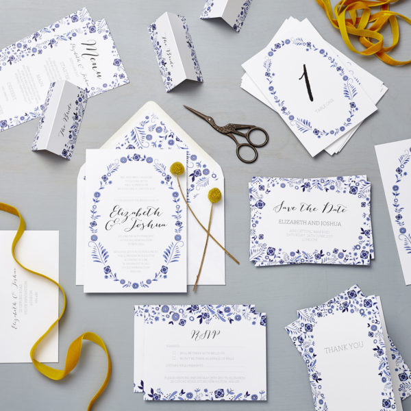 Lucy says I do danish blue wedding stationery