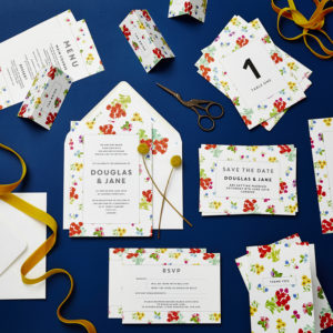 Lucy says I do ditsy wedding stationery