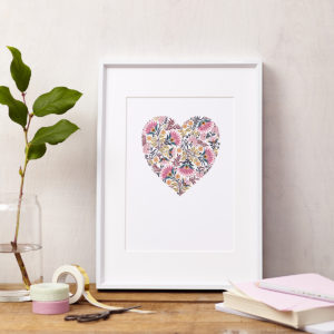 Lucy says I do art print floral heart colour framed