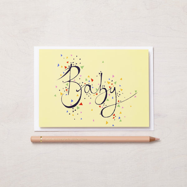 Lucy says I do greetings cards_banana yellow geo baby