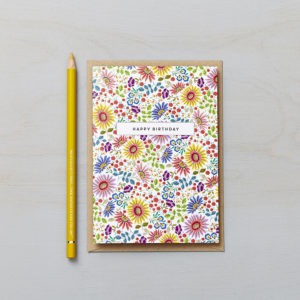 Lucy says I do greetings cards_bright flowers HB