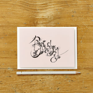 Lucy says I do greetings cards_pink floral baby
