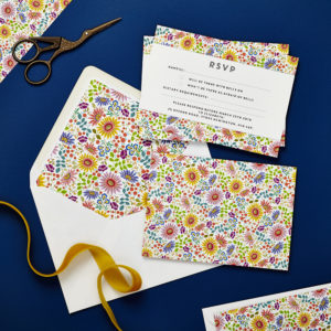 Lucy says I do wedding RSVP bright flowers