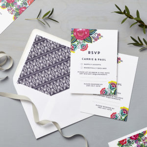 Lucy says I do wedding RSVP floral folk multi