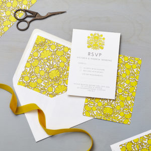 Lucy says I do wedding RSVP love amongst the flower sunburst
