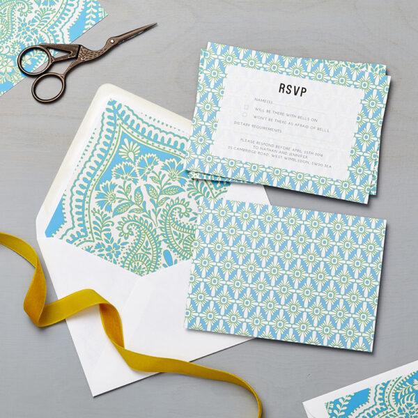 Lucy says I do wedding RSVP mandala blue