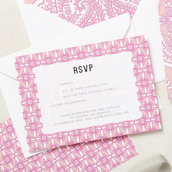 Lucy says I do wedding RSVP mandala pink