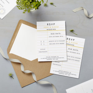 Lucy says I do wedding RSVP retro school mustard