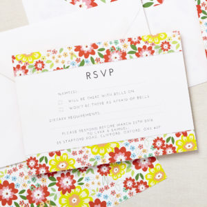 Lucy says I do wedding RSVP ruby bright