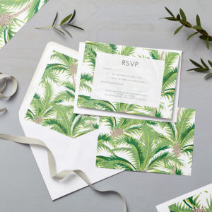 Lucy says I do wedding RSVP tropical