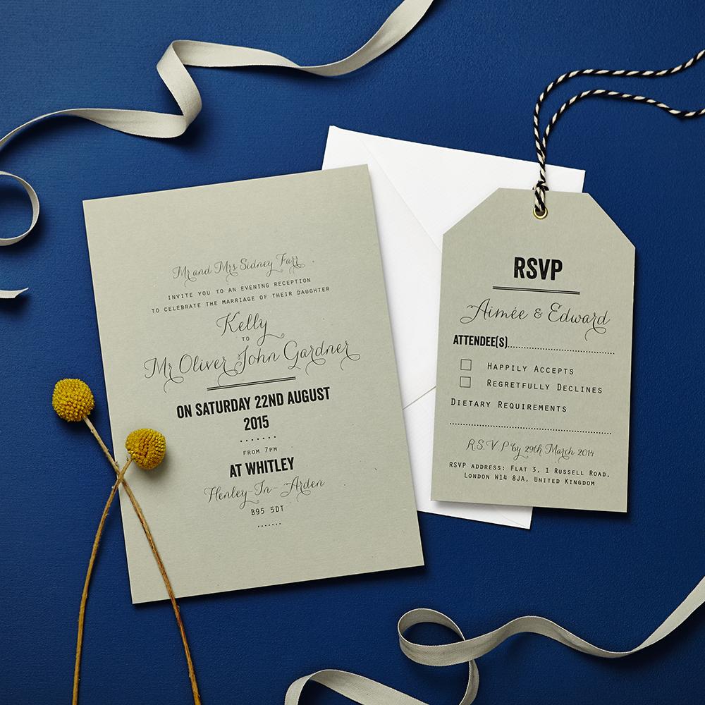 Debenhams Wedding Service Gift List Number: Tag Grey Invitation