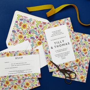 Lucy says I do wedding invitation_bright flowers
