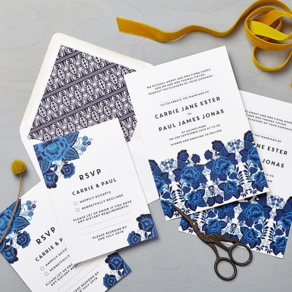 Lucy says I do wedding invitation_floral folk blue