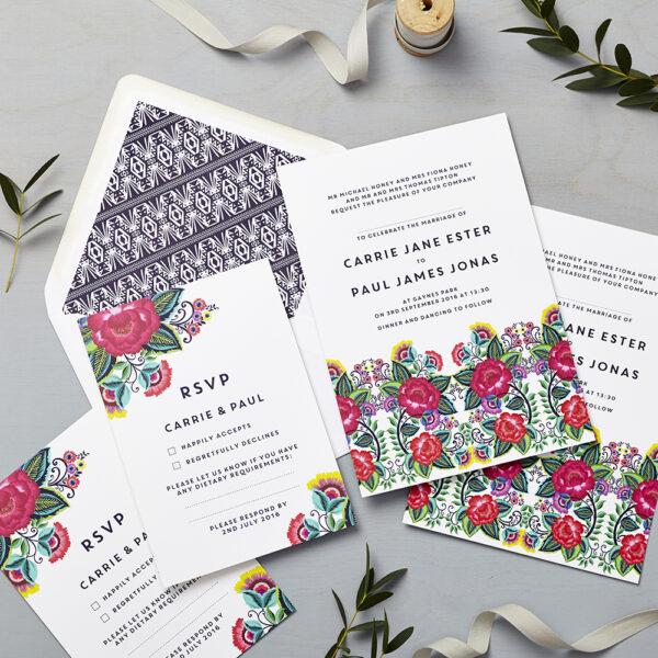 Lucy says I do wedding invitation_floral folk multi