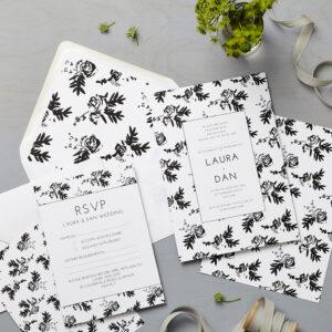 Lucy says I do wedding invitation_flower shadows