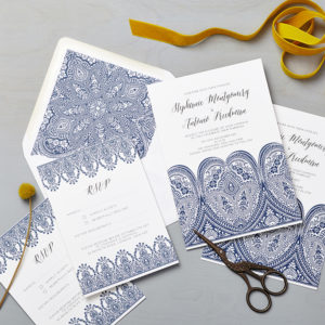 Lucy says I do wedding invitation_indian summer indigo