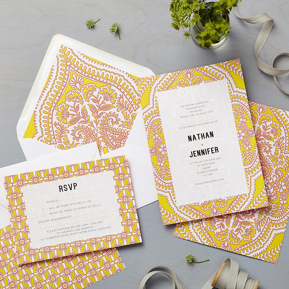 Debenhams Wedding Service Gift List Number: Mandala Yellow Invitation