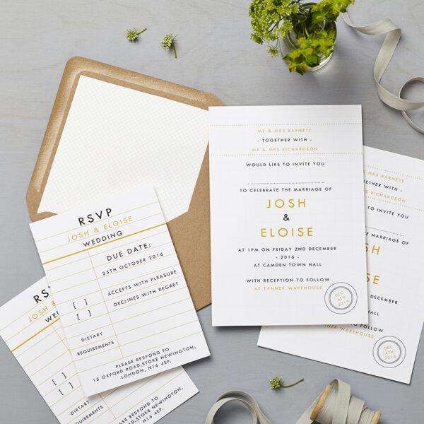Lucy says I do wedding invitation_retro school mustard