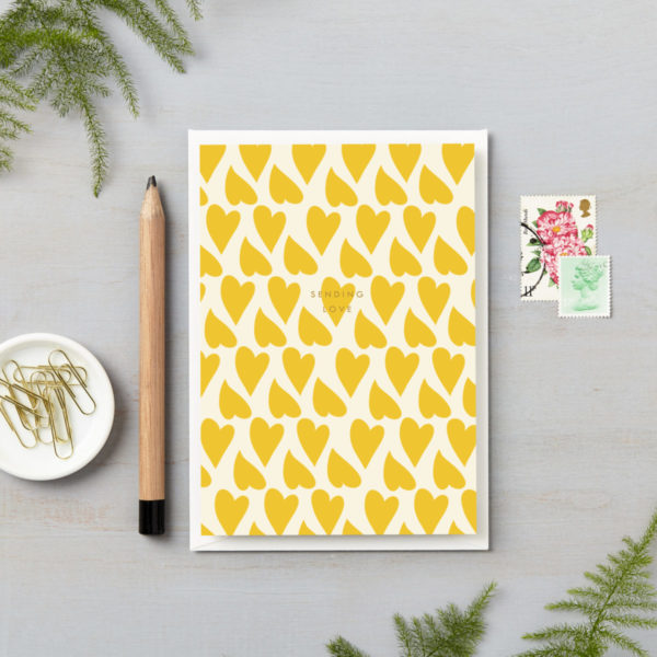 sending yellow love hearts card with gold foiling