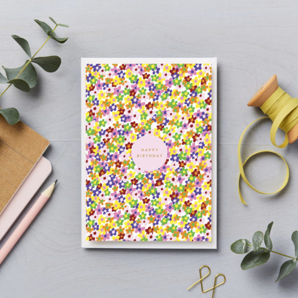 happy birthday bright ditsy flower pattern card