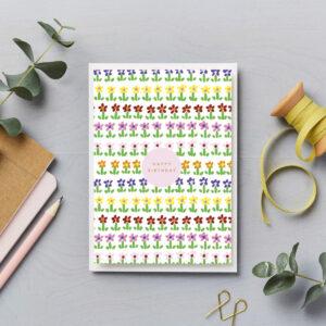 happy birthday bright ditsy flower garden card