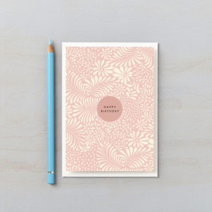 happy birthday card pink botanical abstract