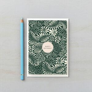 happy birthday card botanical dark green abstract design