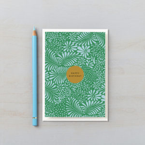 happy birthday card abstract botanical blue and green